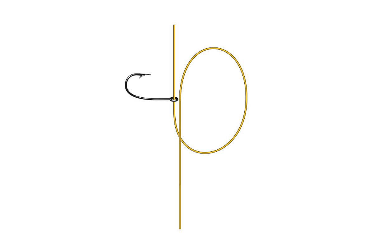 Drop-Shot-Knoten: Eine Schlaufe legen.