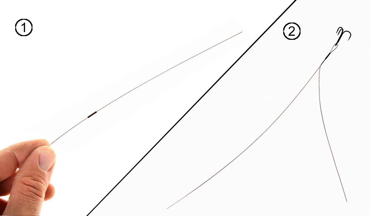 Nun wird zuerst eine Quetschhülse und ein Drilling auf das Vorfach gezogen. Anschließnd wird das Vorfachende wieder zurück in die Hülse gesteckt, sodass circa 15 Zentimeter überstehen. BLINKER: W. Krause