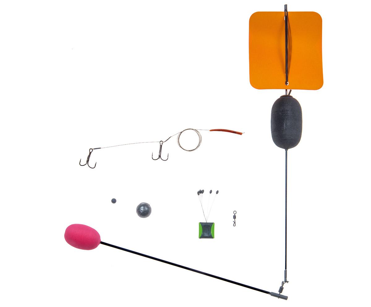 Folgende Bestandteile benötigst Du für die Segelposen-Montage: Stopper, Bleikugel, Gummiperle, Segelpose mit Auslegearm, Hakensystem am Stahlvorfach. Foto: BLINKER/W. Krause