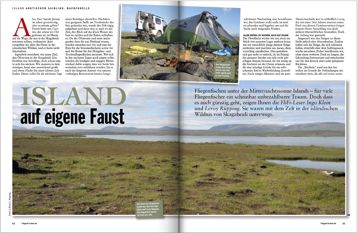 """Zwei FliegenFischen-Leser waren auf eigene Faust auf Island unterwegs, um Forellen und Saiblinge zur fangen. Wie es lief, dass erfahren Sie in FliegenFischen Spezial """"Reise""""."""