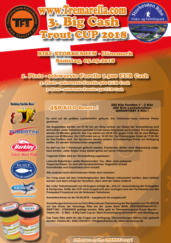 Der offizielle Flyer zur Ausschreibung des Big Cash Trout Fishing Cup.
