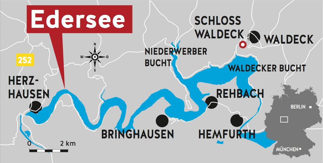 Der Edersee in Hessen ist der ist mit 11,8 Quadratkilometer  Wasseroberfläche der drittgrößte Stausee in Deutschland. Grafik: BLINKER/L. Dainzer