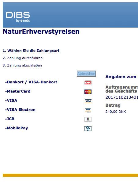 Im nächsten Schritt kannst Du die anfallenden Kosten einfach per Kreditkarte bezahlen. Dazu den Anweisungen auf der Webseite folgen. Screenshot: fisketegn.dk