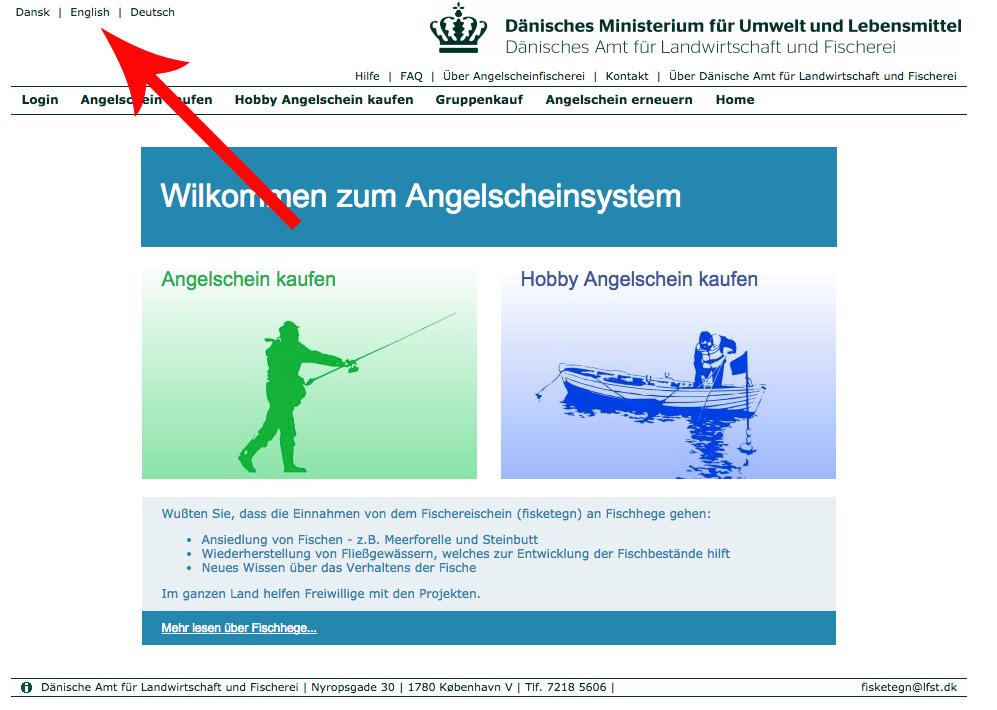 Auf der Internetseite www.fisketegn.dk hast Du die Option zwischen den Sprachen dänisch, deutsch oder englisch auszuwählen. Diese Einstellungen findest Du oben links. Screenshot: fisketegn.dk