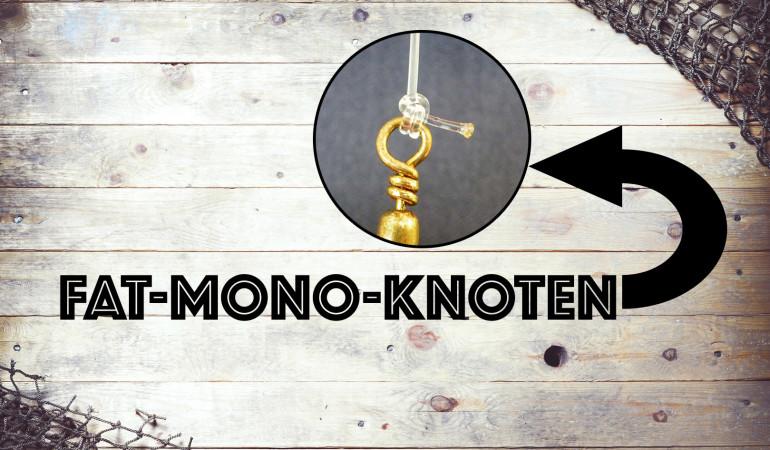 Der Fat-Mono-Knoten ist besonders bei Meeres- und Welsanglern sehr beliebt. Kein Wunder, denn diese starke Verbindung lässt sich schnell knoten, man benötigt keine weiteren Utensilien und er hält bombenfest.