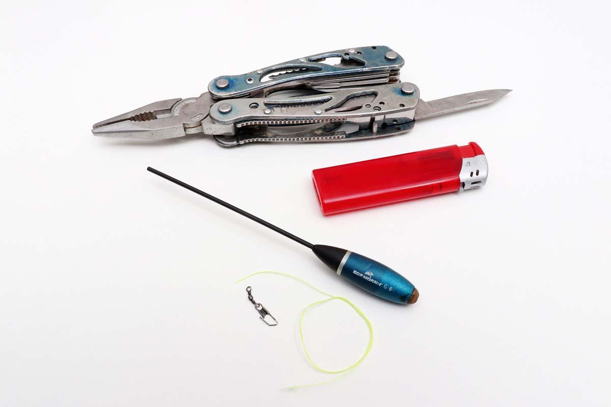 Das brauchst Du: Multitool (alternativ Zange und scharfes Messer), Feuerzeug, Sbirolino, Wirbel, dicke geflochtene Schnur. Foto: BLINKER/F. Pippardt