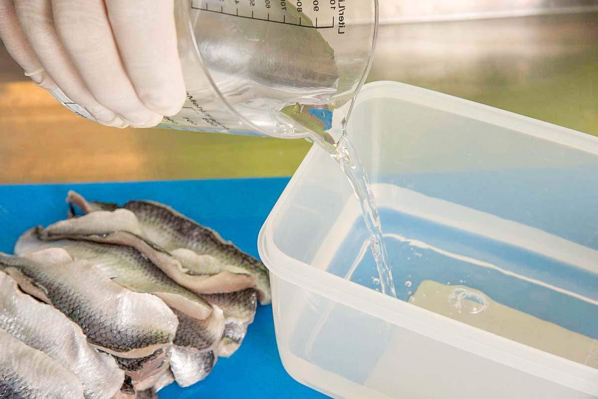 Die Mischung machts! Zunächst pro Kilo Fisch einen Liter Wasser in ein nicht zu flaches, mit einem Deckel verschließbares Gefäß geben.
