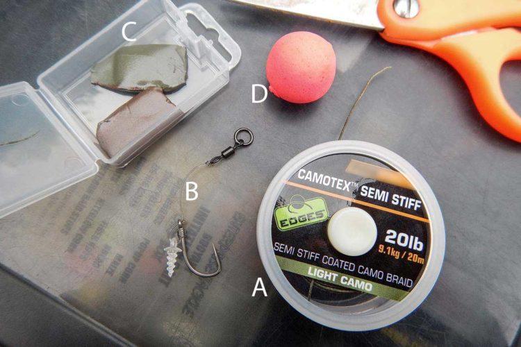 Für die Herstellung der Montage benötigt man relativ steifes, ummanteltes Vorfachmaterial (A), ein kurzes Fluorocarbon-Vorfach mit Ringwirbel (B, wird im Fachhandel als Chod-Rig angeboten), etwas Knetblei (C) und einen Pop-Up (D) oder sinkenden Boilie.