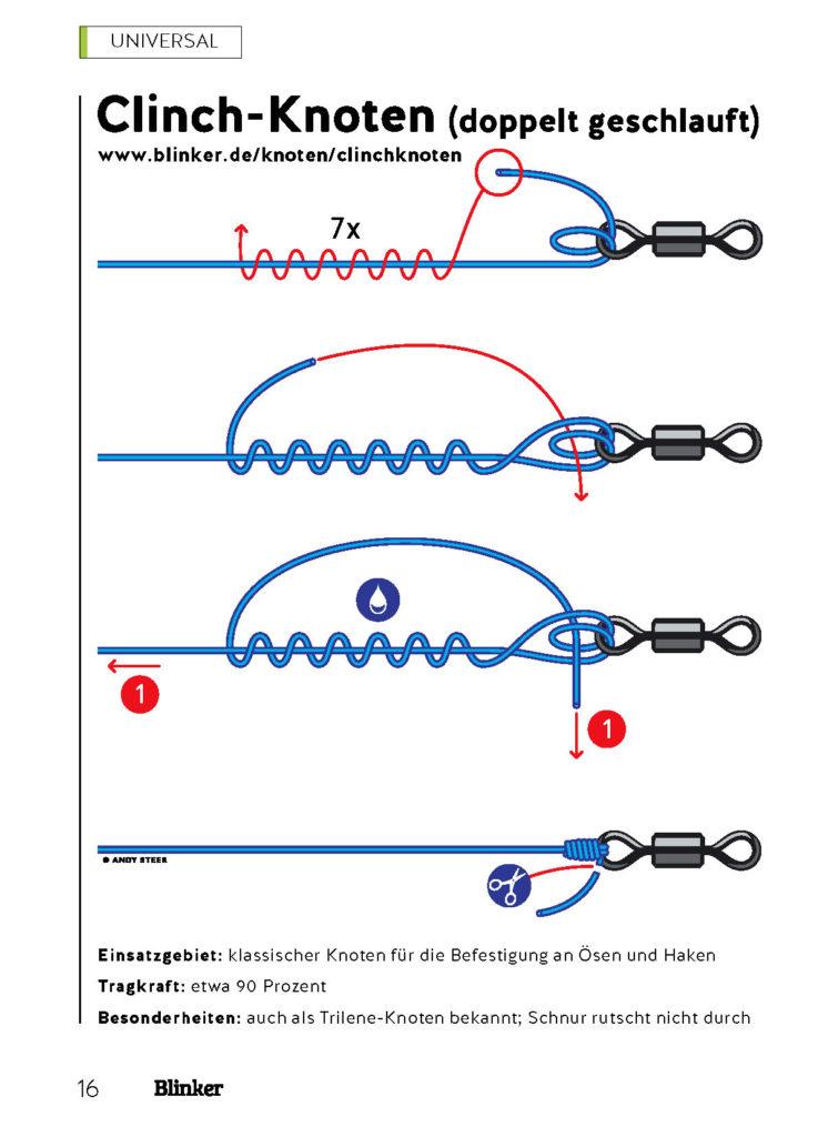 Der Clinchknoten verbindet Schnur und Haken.