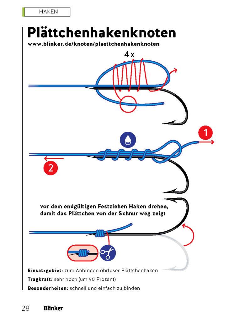 Mit diesem Knoten lassen sich Plättchenhaken leicht befestigen.