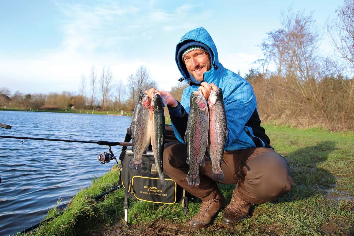 Tolle Ausbeute! Die Forellenseen in Schleswig-Holstein haben für Angler eine Menge zu bieten. Foto: BLINKER/F. Pippardt