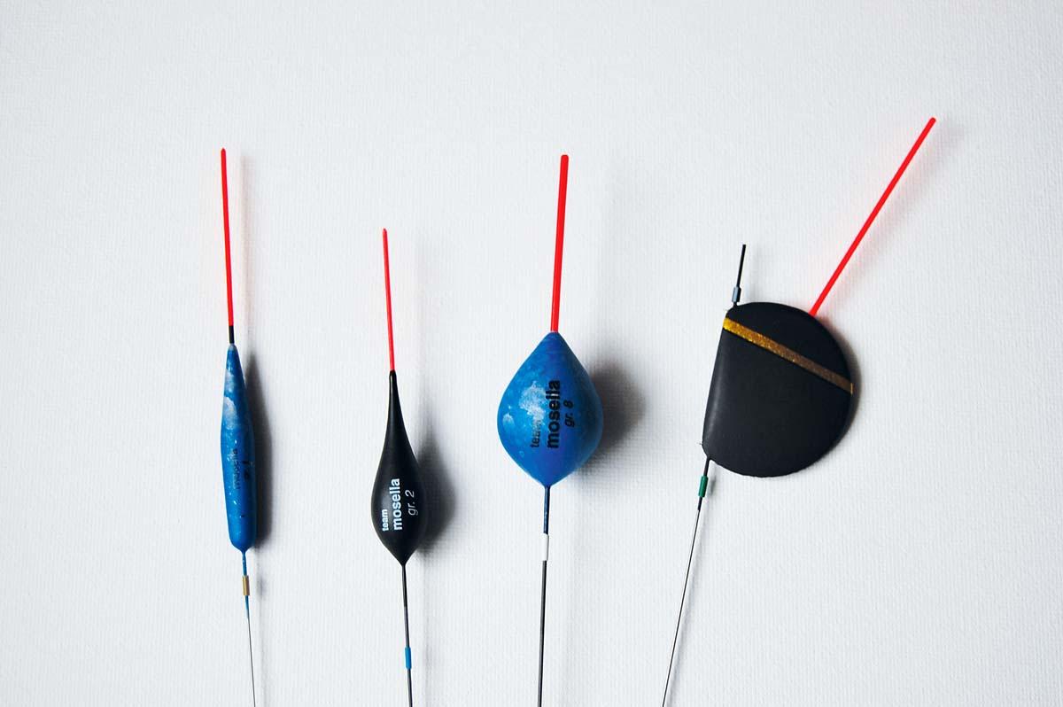 Ein häufiger Fehler beim Stippangeln sind zu viele Posen. Diese vier Posenmodelle reichen vollkommen aus: umgekehrte Karotte, Zwiebelform, Eiform und Lutscherpose (von links) Foto: Blinker/D.Schröder