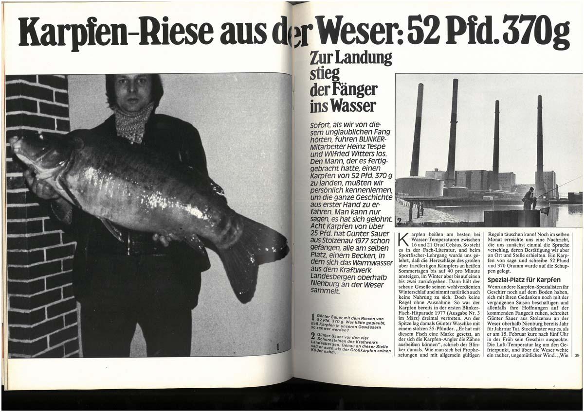 1977 Rekordkarpfen Mittlerweile würde kein 50-Pfünder mehr eine Doppelseite in einem Angelmagazin füllen. Damals aber war es eine kleine Sensation: Günter Sauer fing in der Weser Deutschlands ersten Karpfen jenseits der 50 Pfund-Marke. Bis dahin konnte sich niemand vorstellen, dass Karpfen bei uns so groß werden.