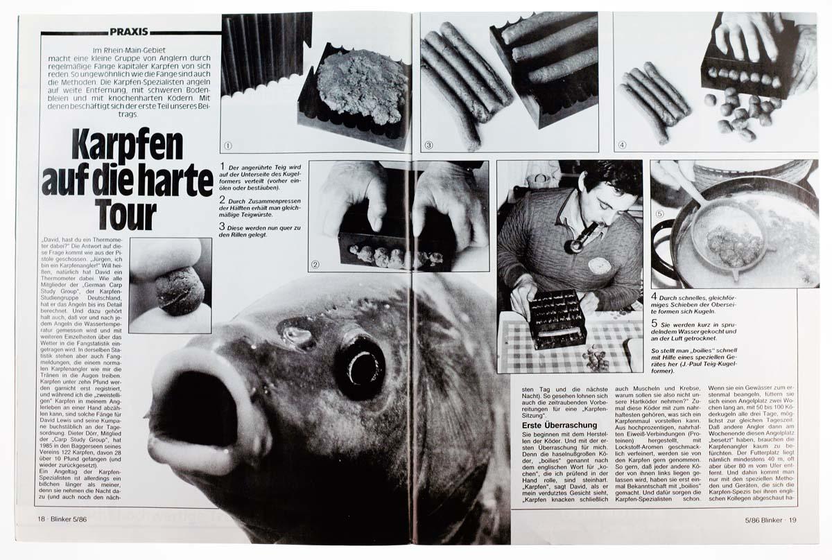 """Boilies, die Revolution beim Karpfenangeln. Zwar bereits in den Sechzigern vom Engländer Fred Wilton mitentwickelt, etablieren sie sich erst Jahre später in Deutschland. In der dreiteiligen Reihe """"Karpfen auf die harte Tour"""" stellt der BLINKER die gekochten Köderkugeln ausgiebig vor."""