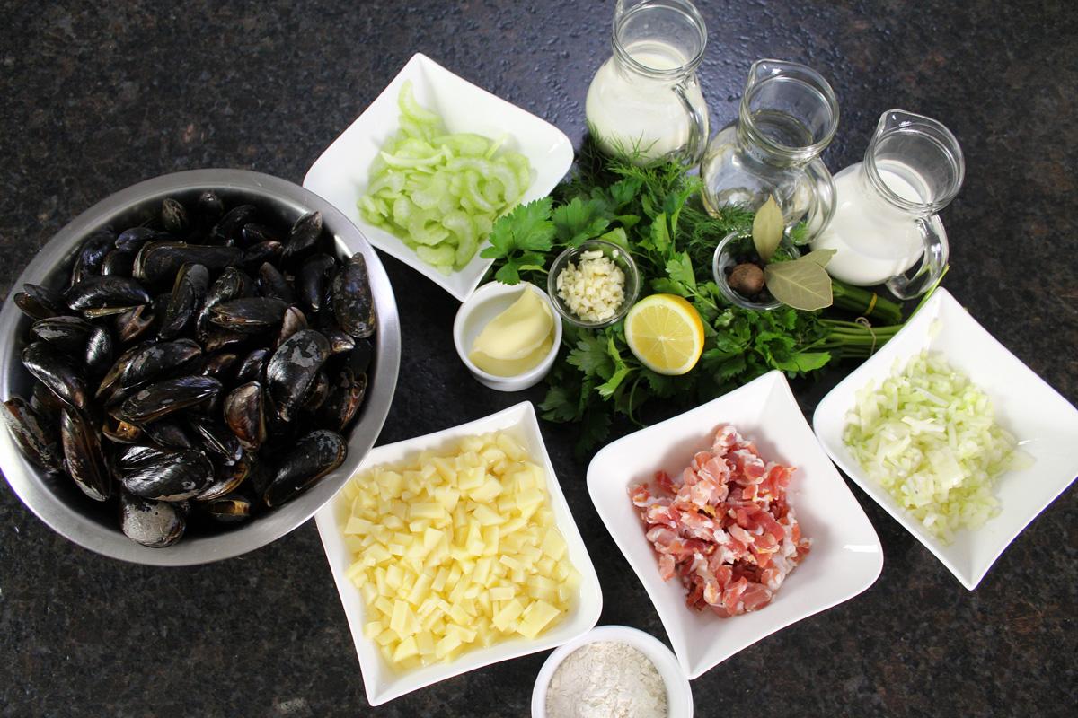 Frische Zutaten für Clam Chowder Suppe. Foto: Matthias Würfl