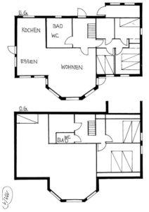 Der Grundriss des zweistöckigen Ferienhauses.