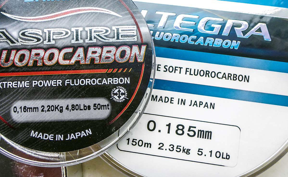 50 m vs. 150 m: Als Vorfachmaterial ist Fluorocarbon bereits etabliert, als Hauptschnur muss es sich noch gegen Mono und Geflochtene durchsetzen.