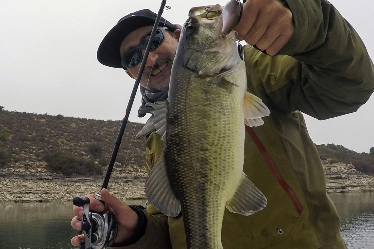 Fluorocarbon-Bass: Wer seine Cranks über mit Muschel besetzten Felsen zieht, muss mit Fluorocarbon keine Fischverluste durch Schnur-Cuts befürchten.