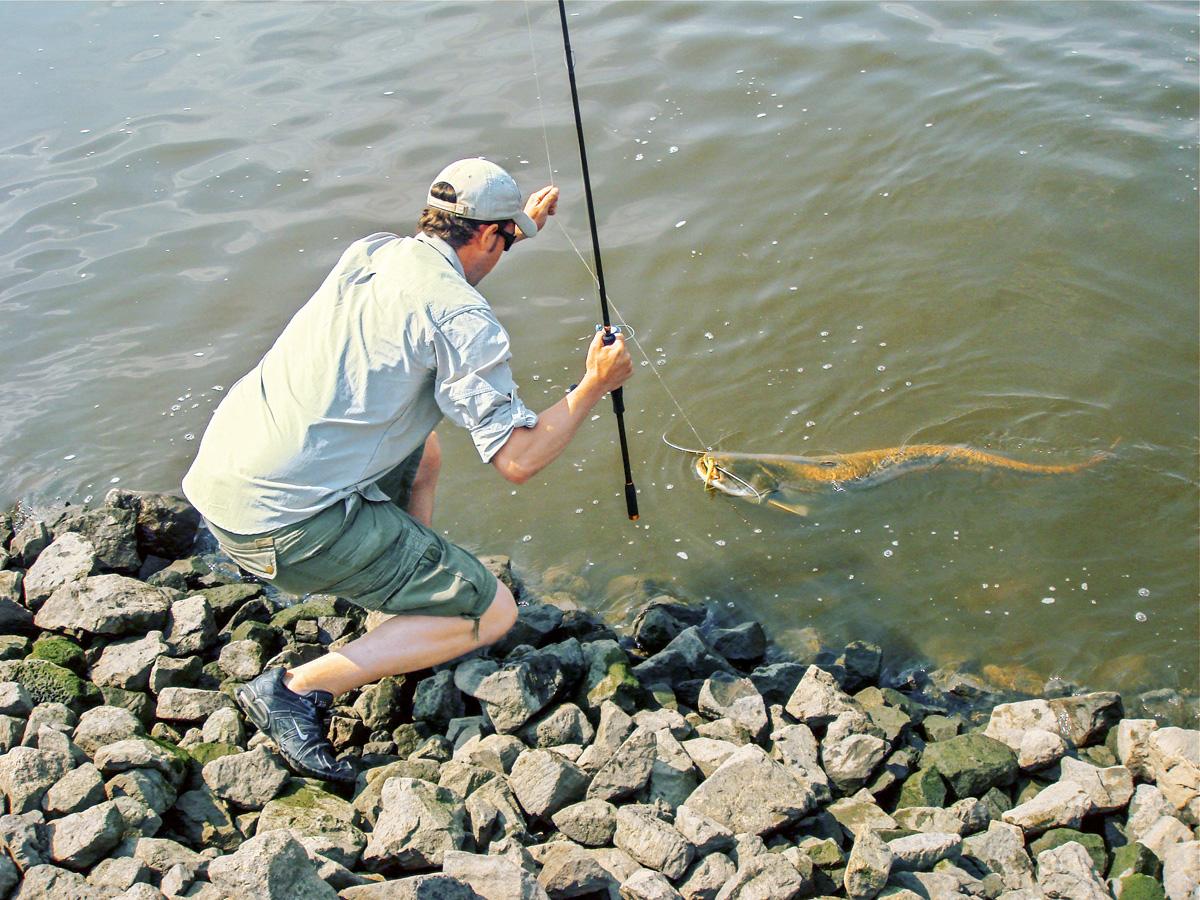 Ausfischen! Die Steinpackung dicht am Ufer ist immer für eine dicke Überraschung gut.