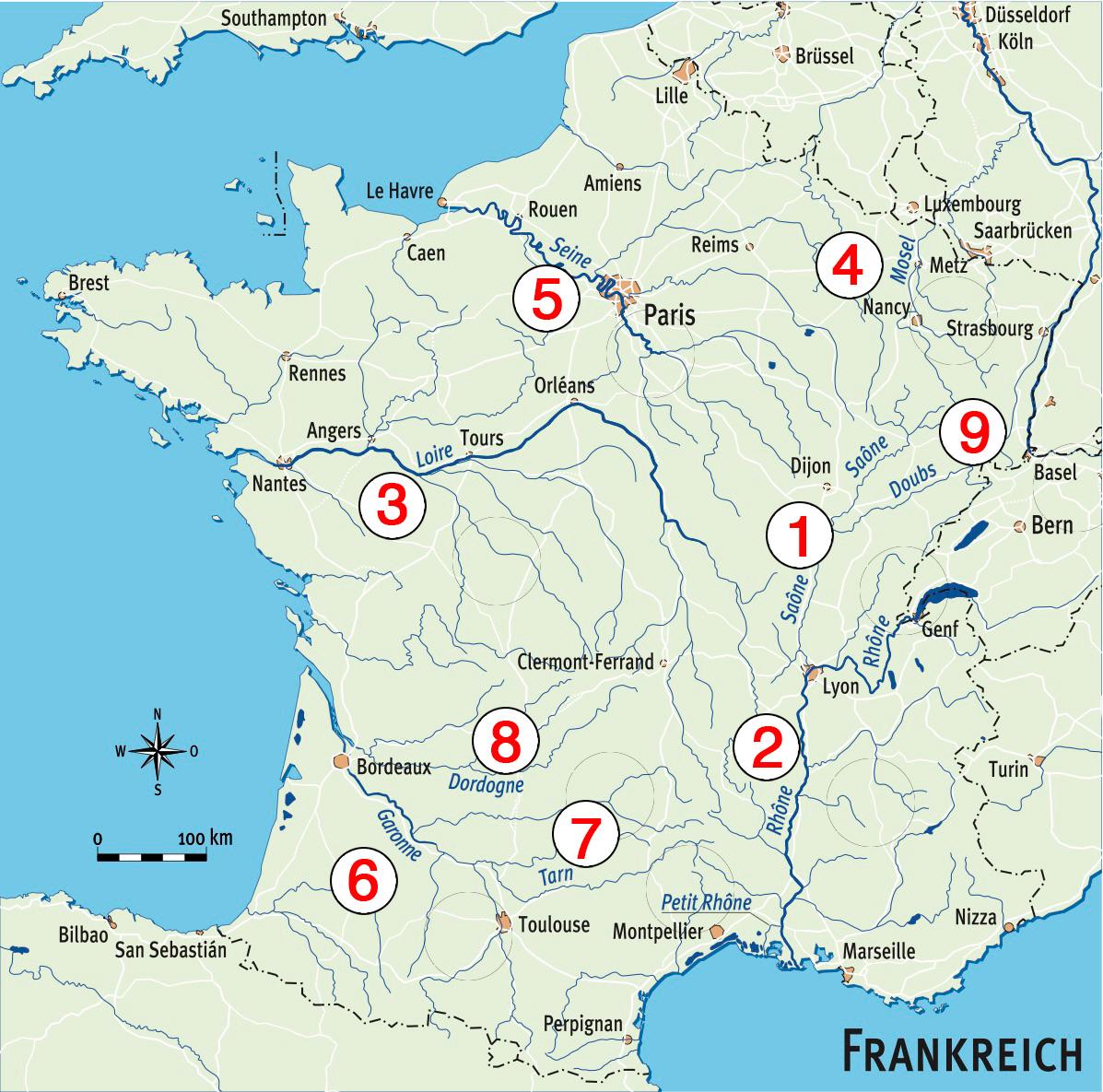 Die Welsreviere Frankreichs im Überblick:  1. Saône 2. Rhône 3. Loire 4. Mosel  5. Seine 6. Garonne 7. Tarn 8. Dordogne 9. Doubs