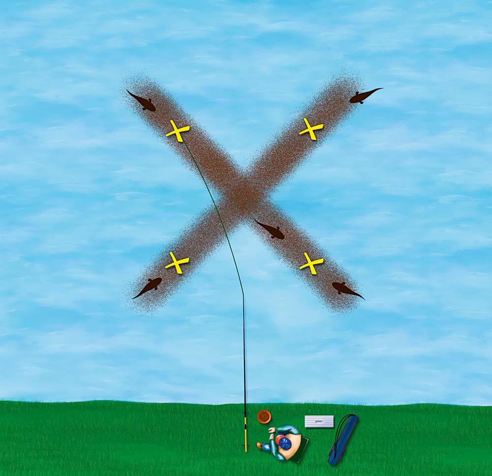 Bei der X-Fütterung wird das Futter X-förmig im See ausgebracht. So können die Karpfen von vier Enden auf den Futterplatz stoßen. Diese Strategie ist vor allem in größeren Seen vorteilhaft. Die Größe des Futterplatzes in X-Form wird zwischen 30 und 50 Meter gewählt, sodass die Fische schnell auf die Futterbahn stoßen. Die Köder werden dabei direkt auf der Futterspur abgelegt. Diese Methode ist geeignet, um eine große Fläche mit verhältnismäßig wenig Futter abzudecken.