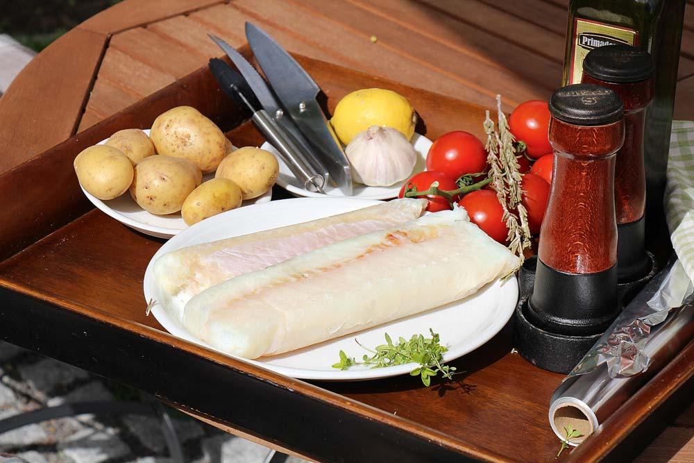 Zutaten für Fisch in Alufolie