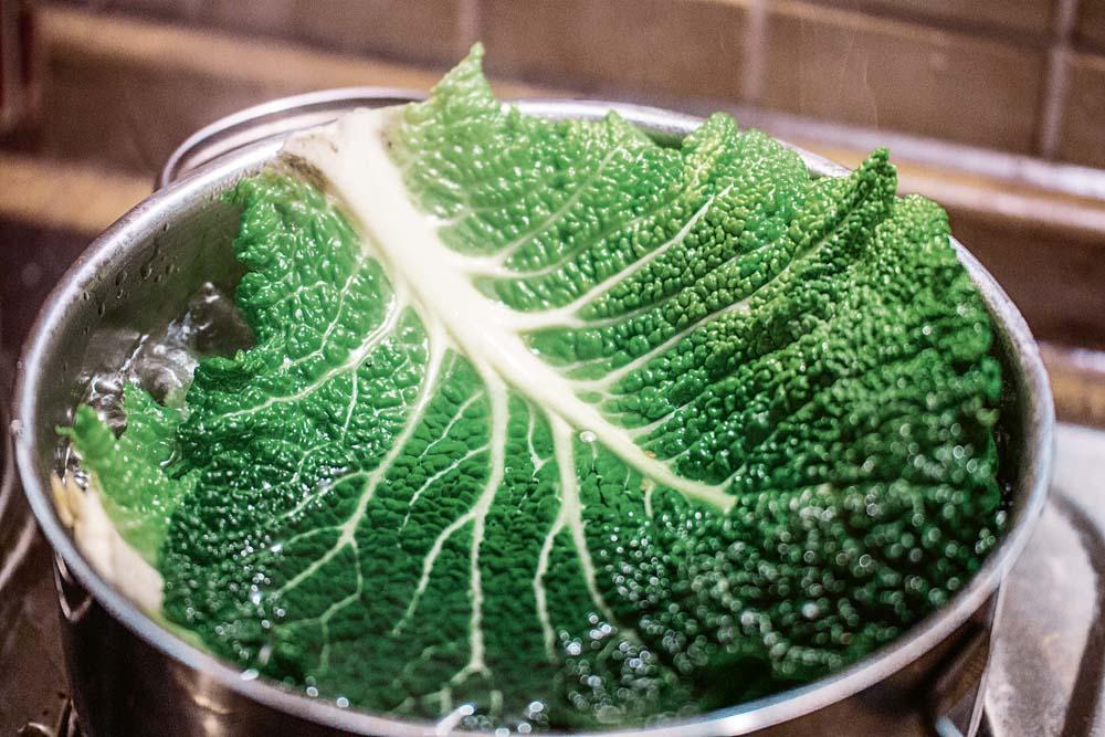 Die Wirsingkohlblätter etwa 2 Minuten blanchieren und anschließend in kaltem Wasser abschrecken. Durch das Blanchieren lassen sich die Blätter besser formen, ohne dass sie reißen. Das Abkühlen ist wichtig, damit die grüne Farbe erhalten bleibt.
