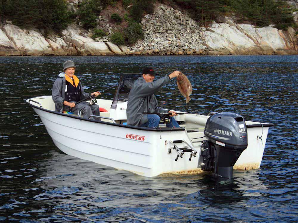 Dieses Angelboot gehört zum Ferienhaus dazu. Es liegt nur 30 Meter vom Haus entfernt.