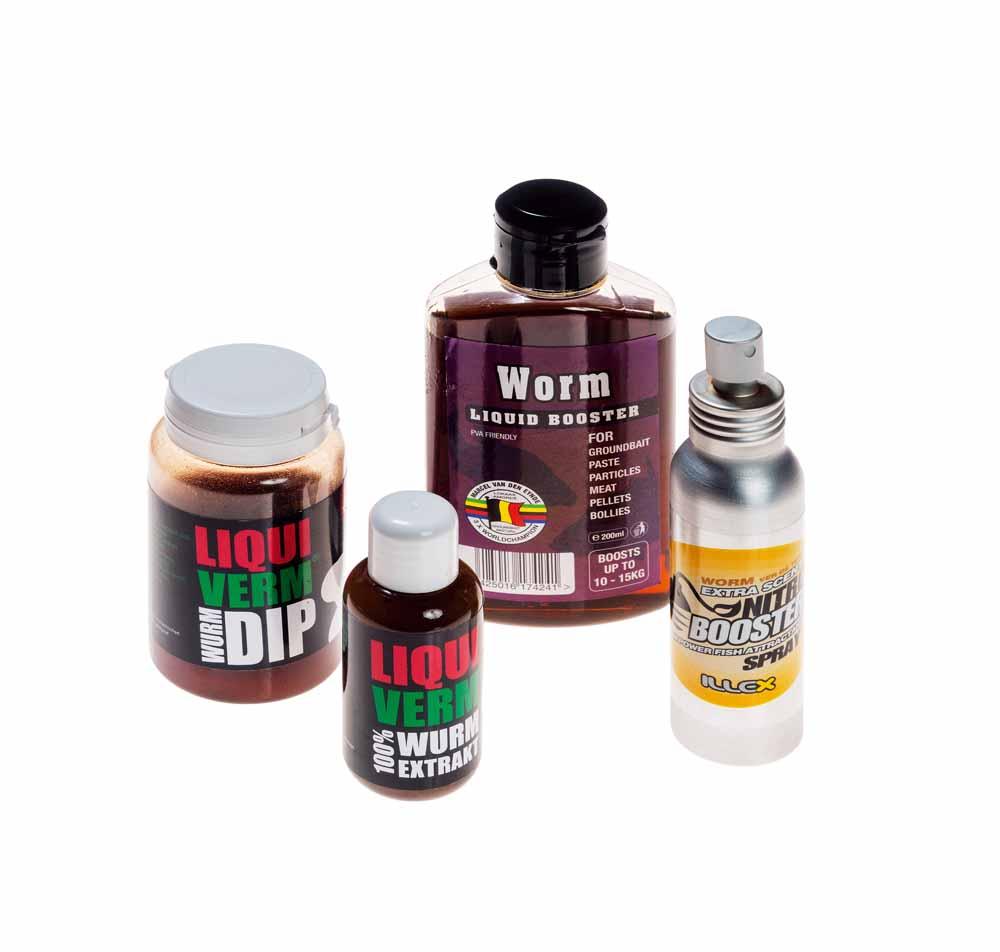 Im Handel sind zahlreiche Lockstoffe erhältlich, welche man direkt über die Wurmstücke oder ins Futter mischt.