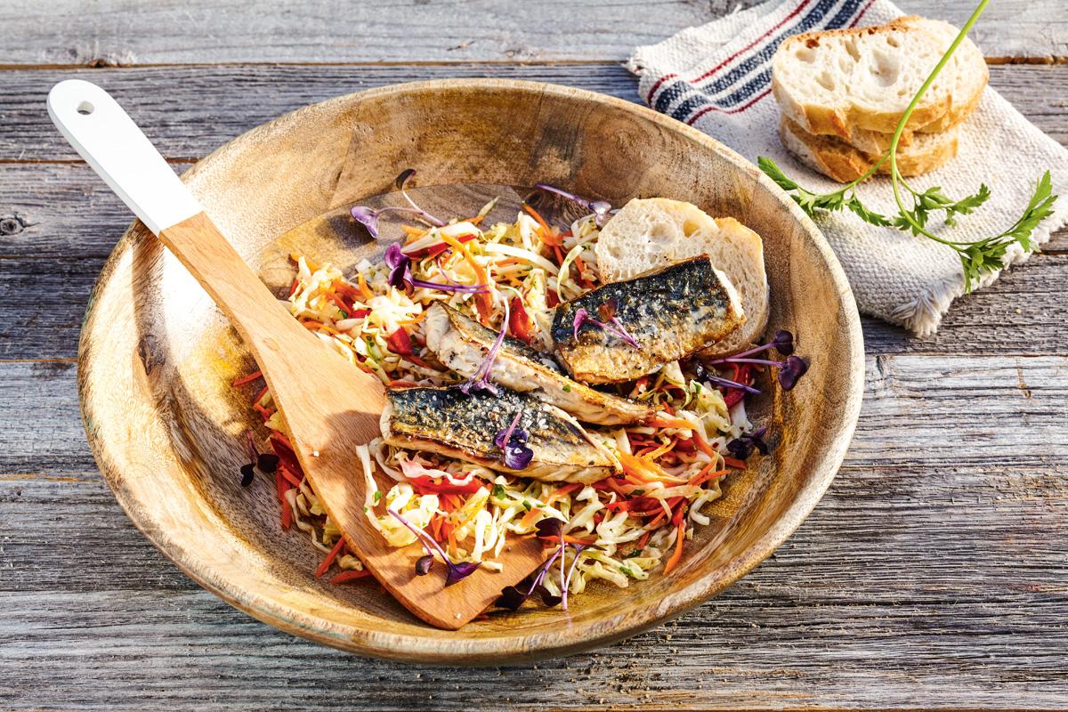Gebratenes Makrelenfilet auf Weißkohlsalat