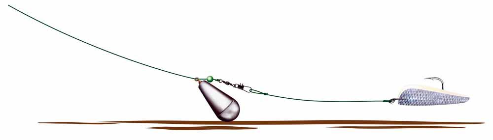 Die Montage vom Autor, mit der er beim aktiven Zanderangeln mit Fischfetzen fängt.