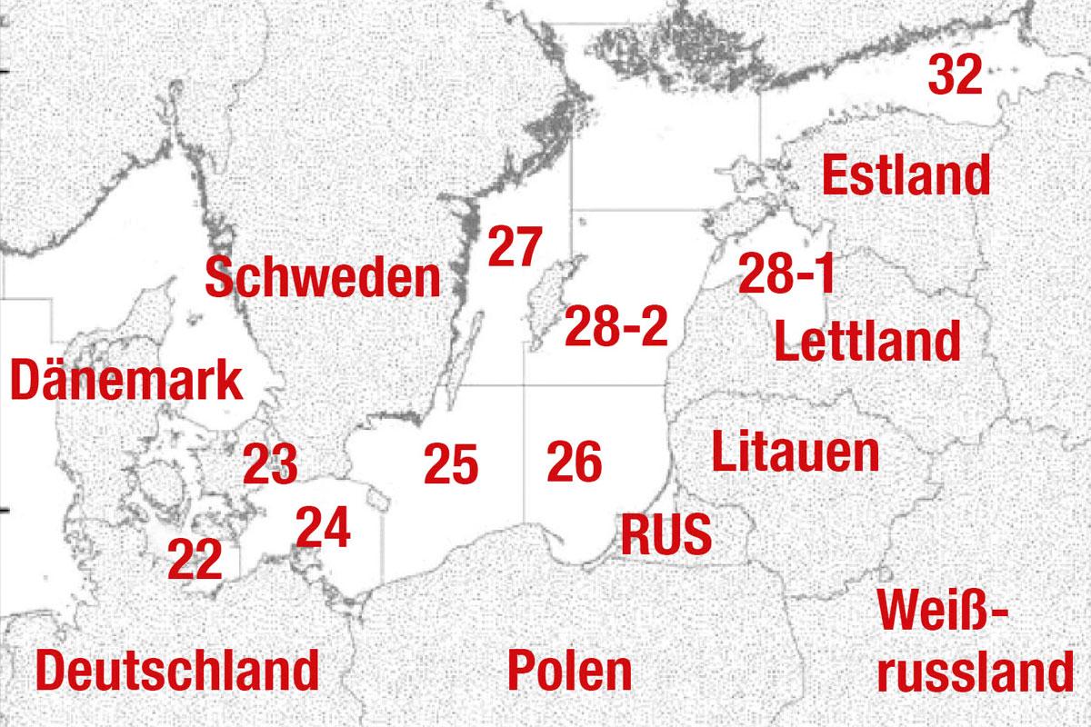 Auf der Karte sind die einzelnen Fanggebiete der Ostsee zu erkennen. Foto: AngelWoche/Archiv
