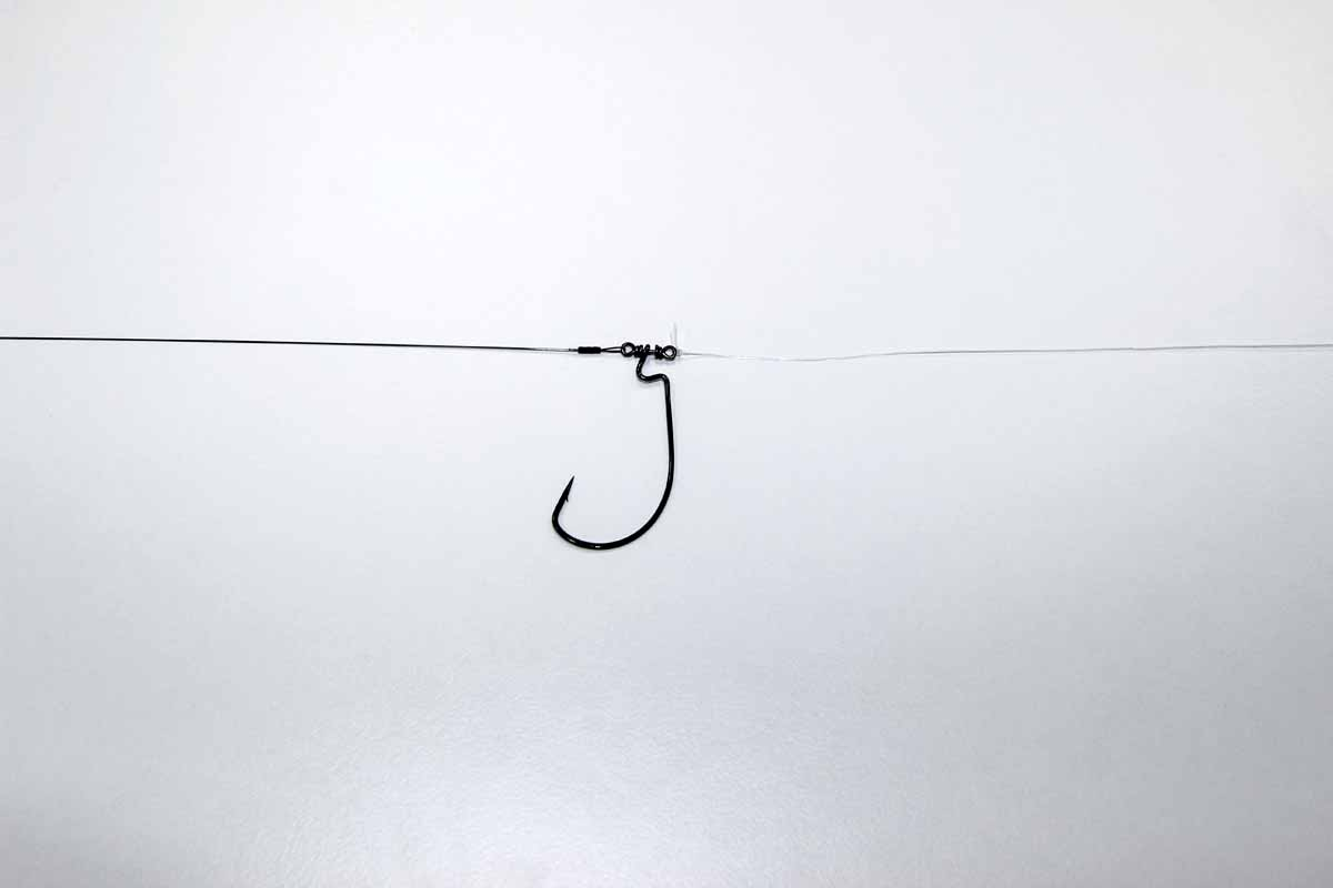 Ein Stück (gut einen Meter) dünnes Fluorocarbon (etwa 0,20 Millimeter) an den unteren Wirbel des Wide-Gape-Hakens anknoten. Foto: Blinker/Peer Kustermann