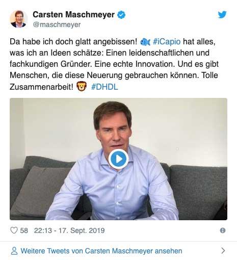Carsten Maschmeyer äußert sich auf Twitter zum Deal mit iCapio