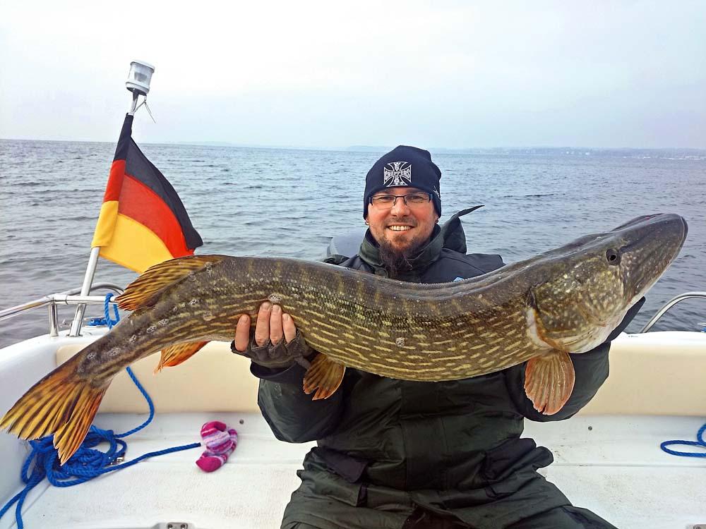 Guiding-Gast Ricardo mit einem der wahren Rügen-Monster. So ein Fisch lässt das Flachwasser erbeben.