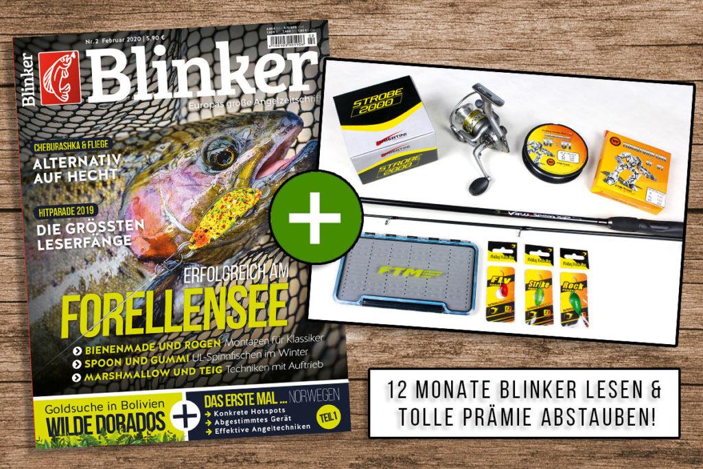 Jetzt Blinker abonnieren und das FTM-Spoonset als Prämie bekommen – damit kann der Spaß am Forellensee gleich losgehen! Foto: BLINKER / Fishing Tackle Max
