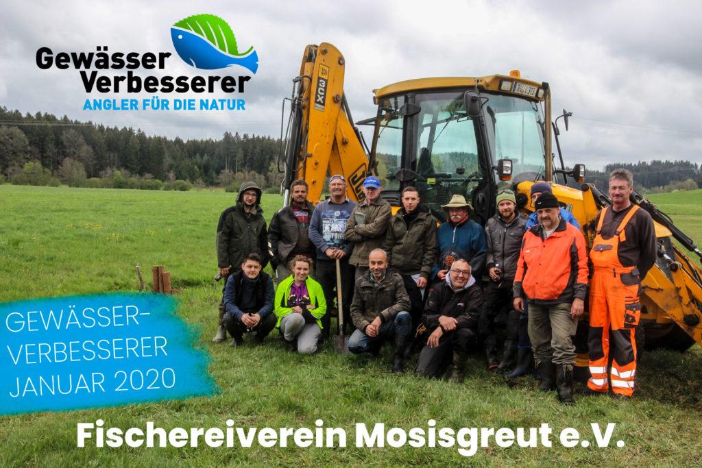 Die Anglerinnen und Angler des Fischereivereins Mosisgreut e.V. beim Bachprojekt Gewässerunterhaltung Holzmühlebach. Dieses Gewässer wurde offiziell verbessert! Foto: Fischereiverein Mosisgreut e.V.