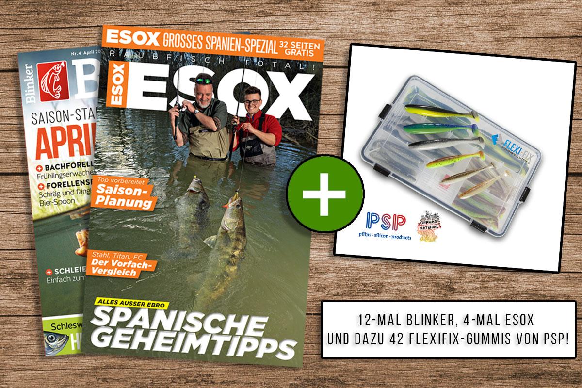 Ein Jahr lang BLINKER lesen, vier Ausgaben ESOX gratis bekommen – und die Flexifix-Köderbox gibt's als Prämie dazu. Das alles zum absoluten Vorteilspreis bei uns im Shop! Bild: BLINKER