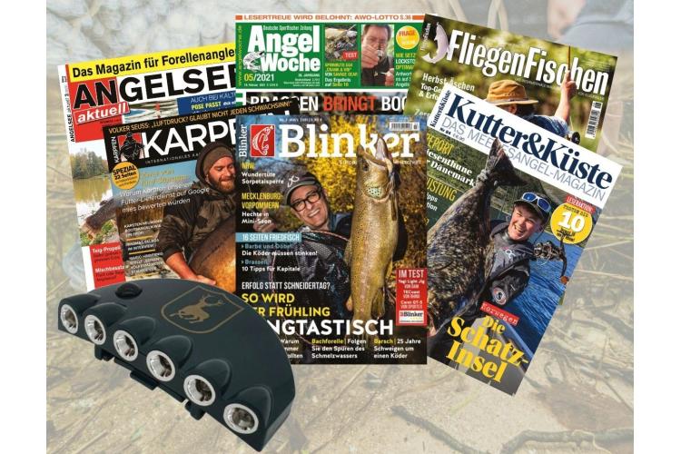 Ein buntes Paket aus unseren 6 Angelzeitschriften: Lektüre gegen Langeweile! Im Paket findet ihr 8 Hefte für weniger als 10 Euro. Die ersten 100 Bestellungen bekommen ein praktisches Cap-Light dazu! Bild: Jahr Media