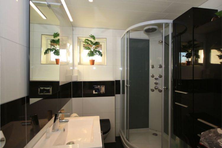 Wie man sehen kann, ist auch das Bad mit Dusche und WC sauber und stilvoll eingerichtet.