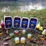 Im Paket waren mehrere verschiedene Futtersorten, Flavours, Sprays und Fake-Mais enthalten. Ronny Priebe und die übrigen Tester nutzten die letzten Herbsttage, um sie auf Herz und Nieren zu prüfen! Foto: R. Priebe