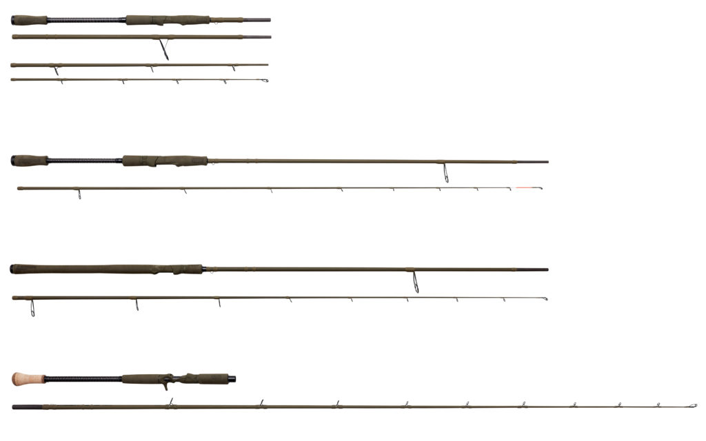 Vier weitere Modelle der SG4-Serie (von oben nach unten): SG4 Dropshot Specialist; SG4 Shore Game; SG4 Medium Game 4SEC (4 Teile); SG4 Swimbait Specialist Trigger.