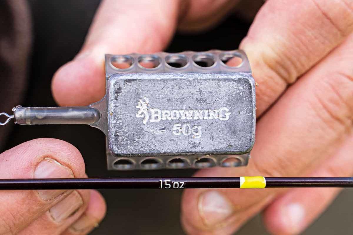 Spitzen zwischen 1 und 3 oz eignen sich Feederkörbe im Mittelfeld; zu 1,5 oz passt ein 50-Gramm-Korb. Foto: F. Pippardt
