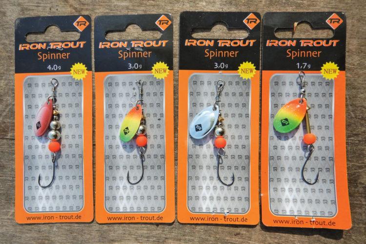 Wir suchen Testangler für Spinner! Das ist das Test-Set: Iron Trout Spinner 4 Forellenspinner mit Einzelhaken Gewicht: 1,7 g, 3 g (2x) und 4 g. Foto: F. Schlichting