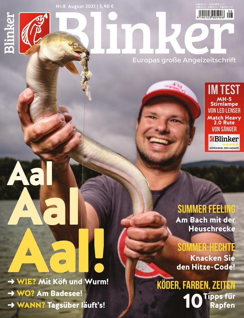 Im Blinker 08/2021 dreht sich alles um den Aal. Ab dem 13. August am Kiosk – schon jetzt bei uns im Online-Shop! Bild: BLINKER